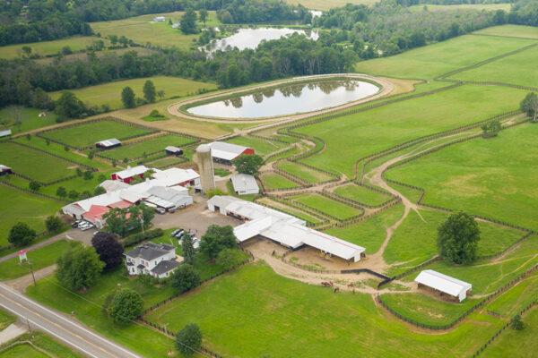 aerial view of Mapleton Farm