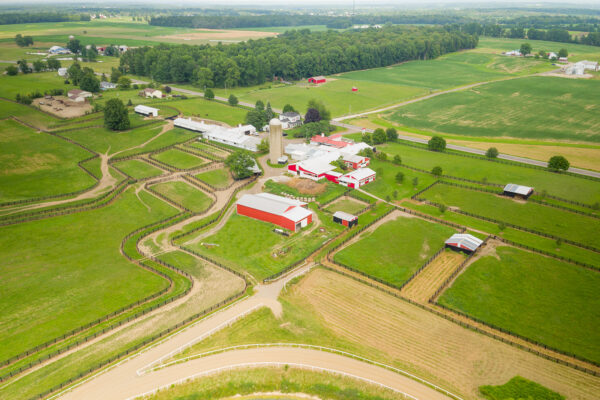 Aerial overview of Mapleton Thoroughbred Farm